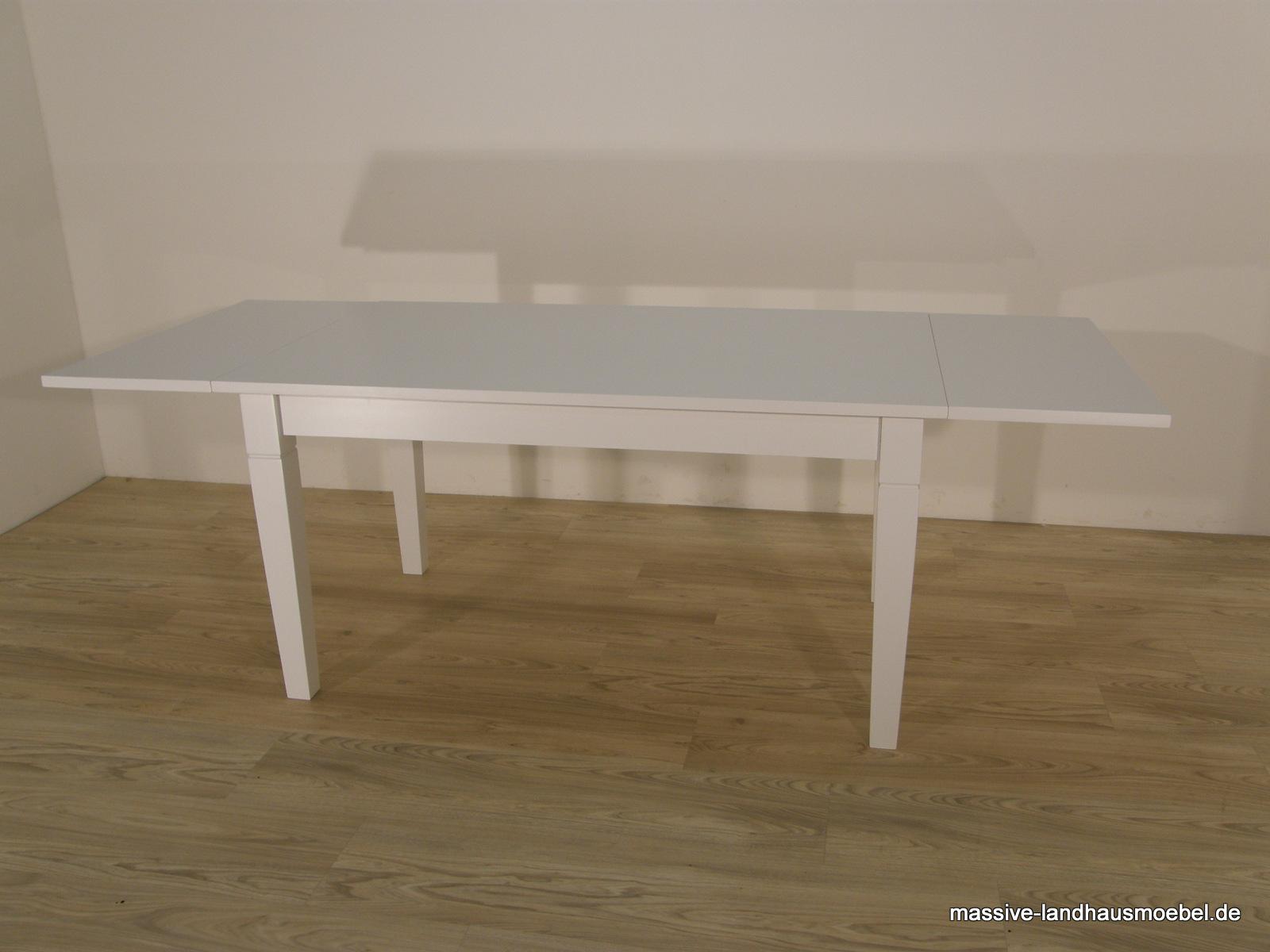 massive landhausm bel 100 tisch wei ausziehbar. Black Bedroom Furniture Sets. Home Design Ideas