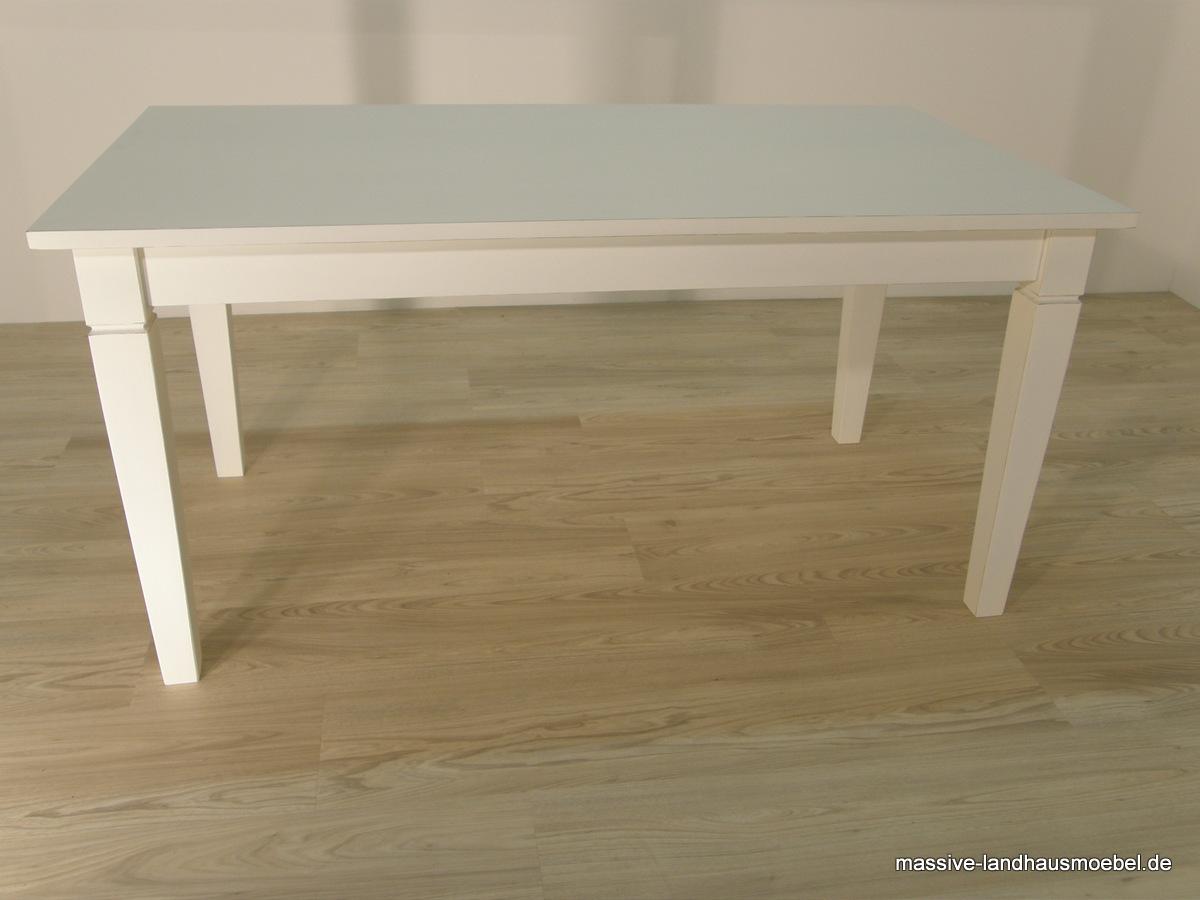 Massive Landhausmöbel - 100 Tisch weiß ausziehbar
