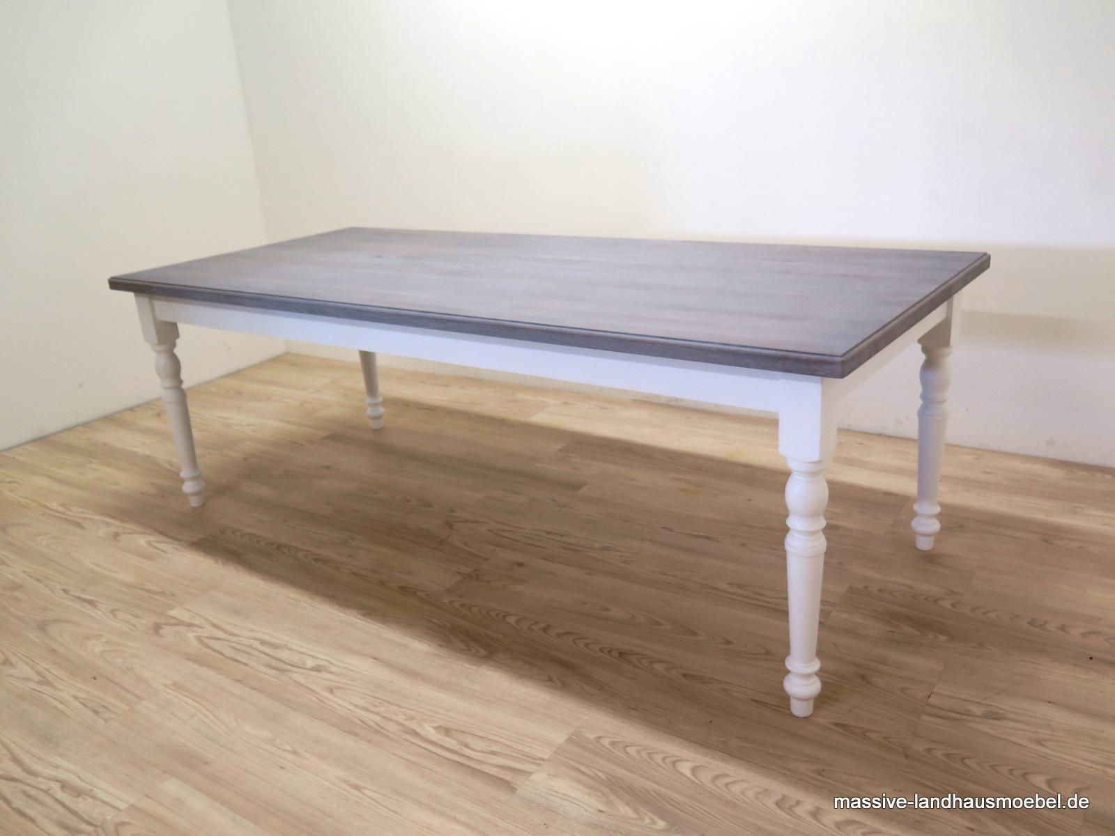 massive landhausm bel 147 tisch mit eicheplatte grau 230 cm ausziehbar. Black Bedroom Furniture Sets. Home Design Ideas
