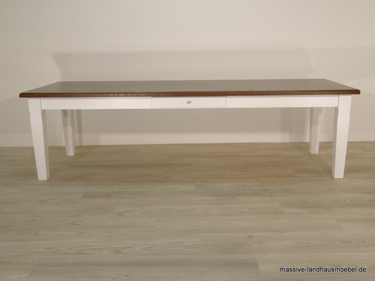 Massive Landhausmöbel - 111 Tisch Deluxe / Platte Eiche 280 cm
