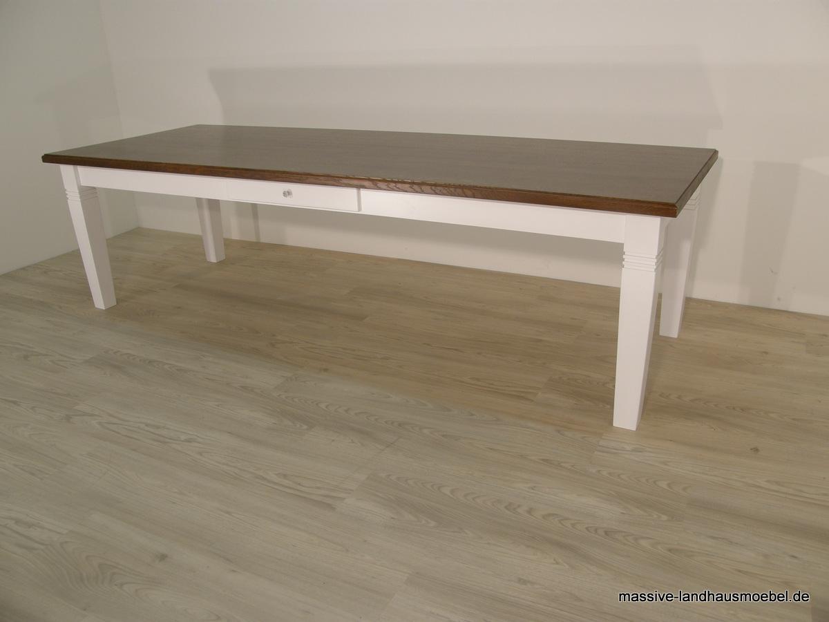 massive landhausm bel 111 tisch deluxe platte eiche 280 cm. Black Bedroom Furniture Sets. Home Design Ideas