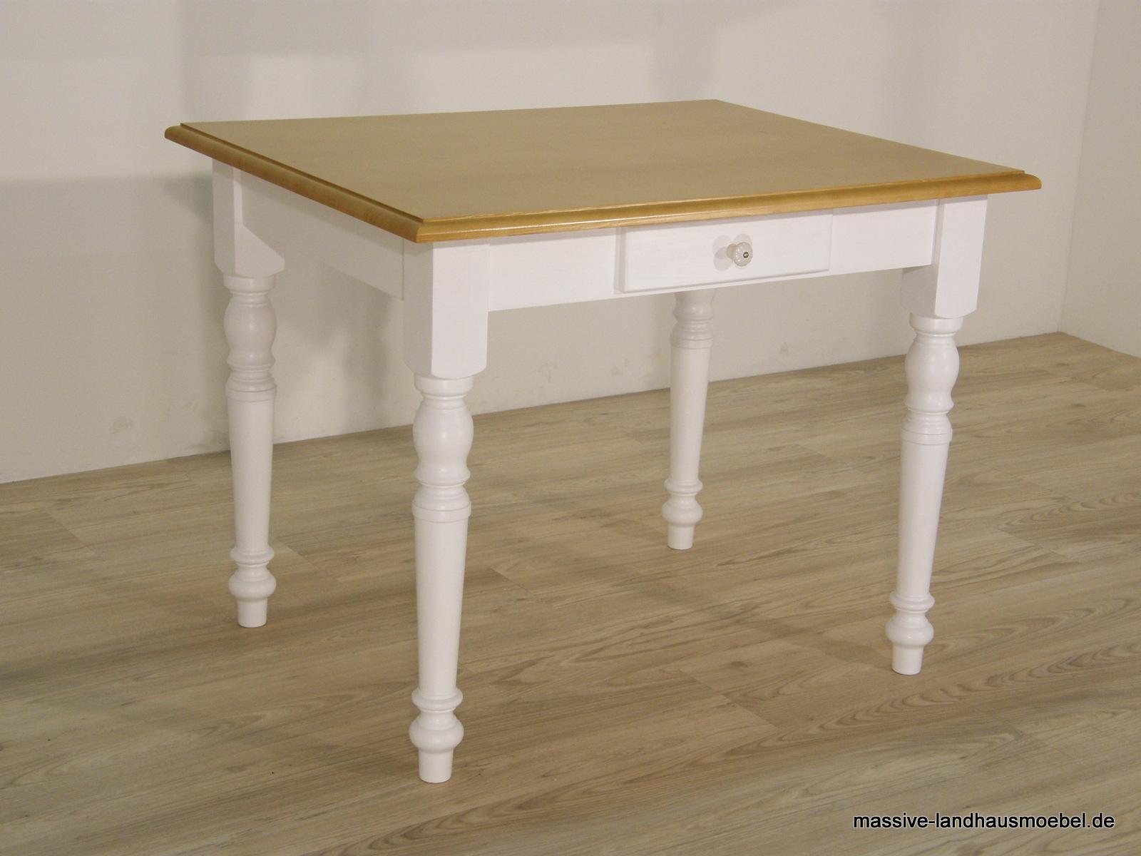 Massive Landhausmöbel 138 Tisch Weiß Honig