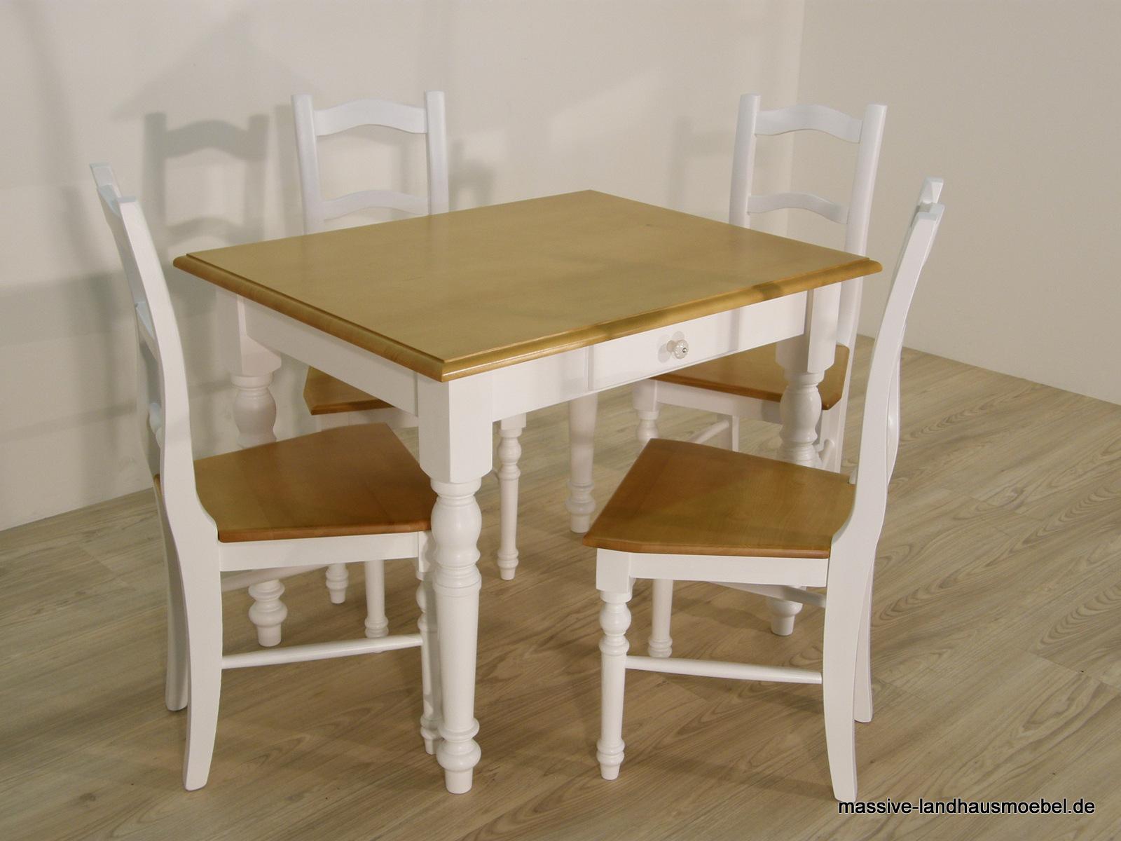 Massive Landhausmöbel - 138 Tisch weiß / Honig