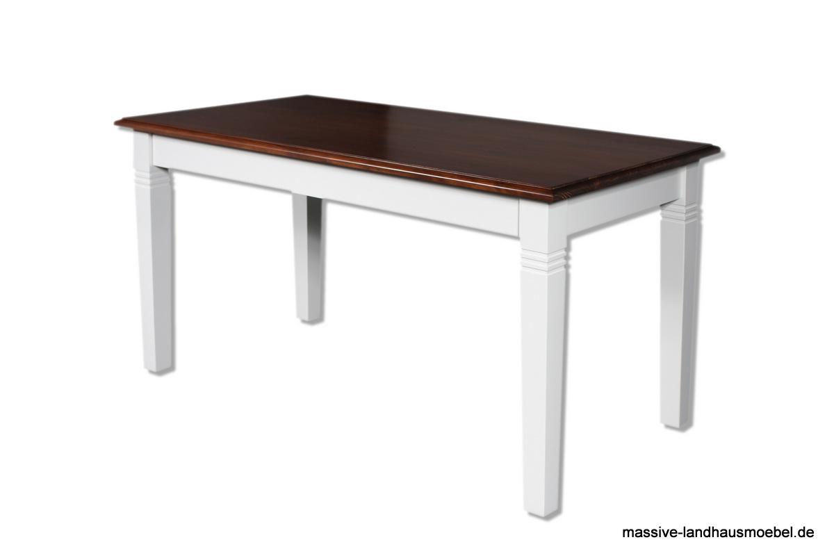 massive landhausm bel 106 tisch wei platte braun. Black Bedroom Furniture Sets. Home Design Ideas