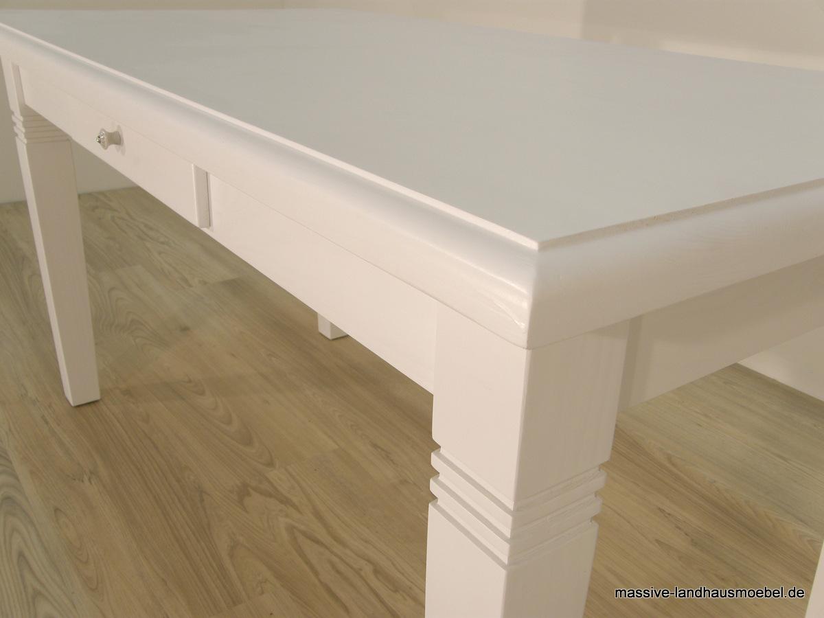 massive landhausm bel 104a tisch wei 4cm platte. Black Bedroom Furniture Sets. Home Design Ideas
