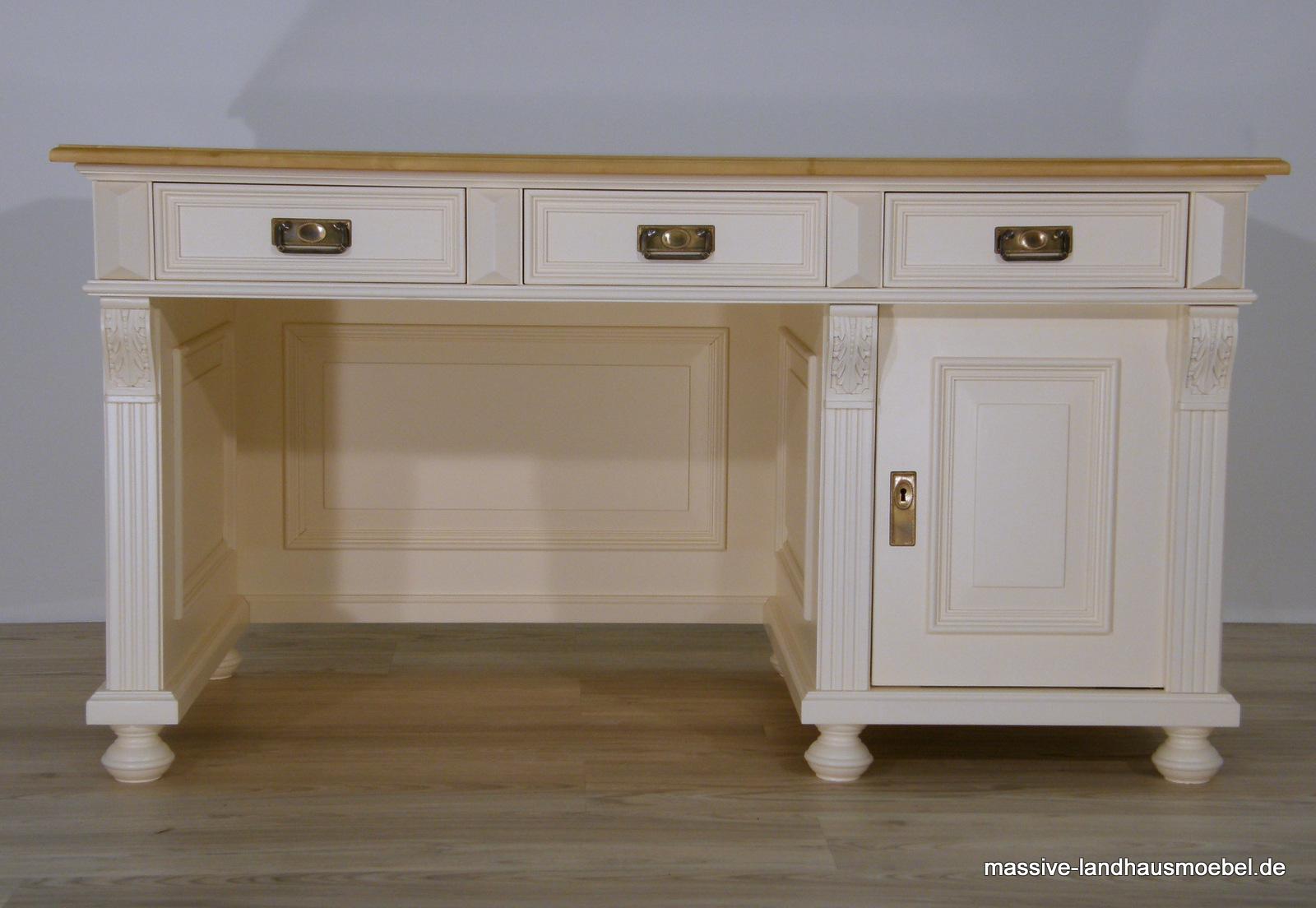 Schreibtisch holz antik  Massive Landhausmöbel - 1409 Schreibtisch Deluxe