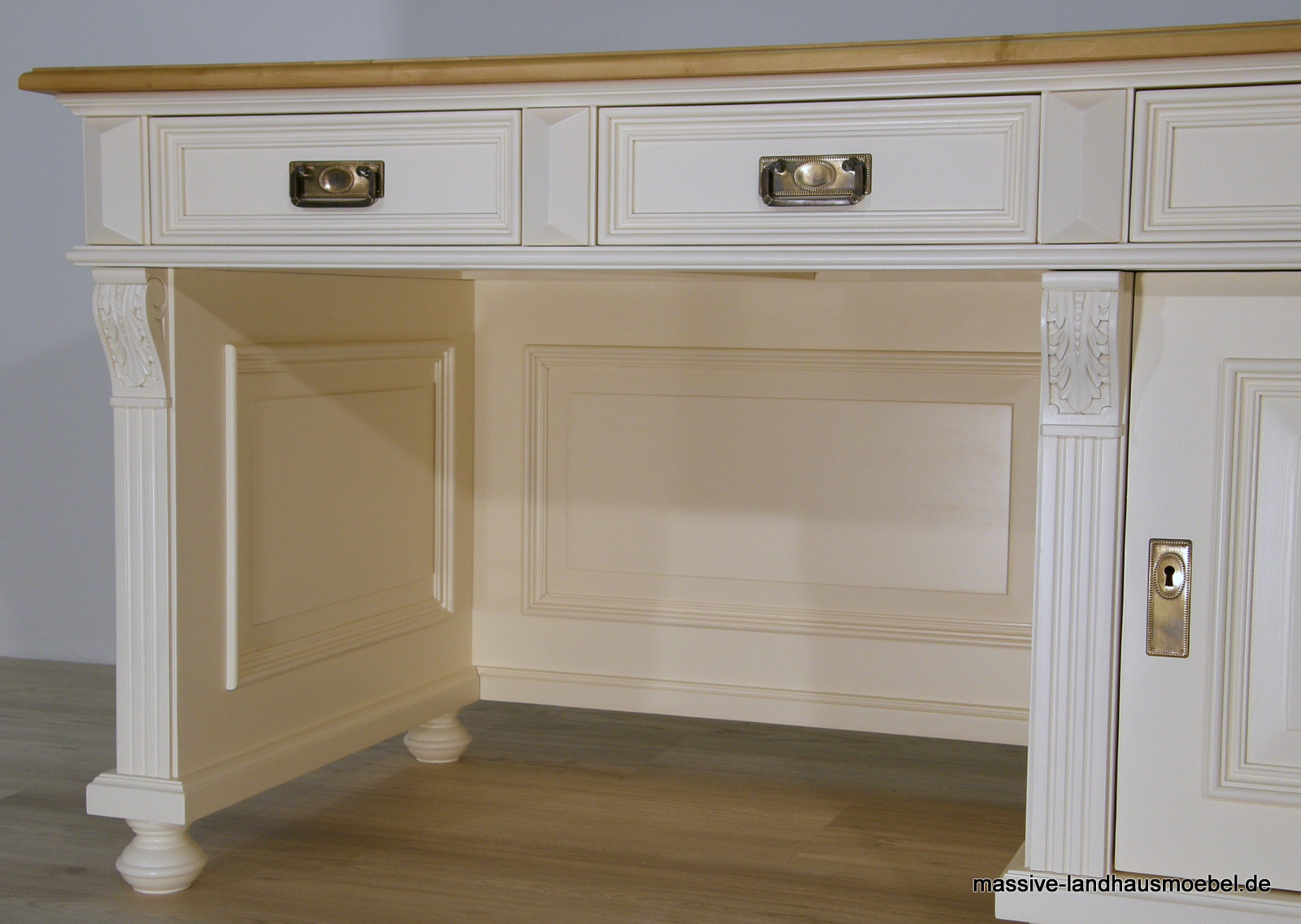 massive landhausm bel 1409 schreibtisch deluxe. Black Bedroom Furniture Sets. Home Design Ideas