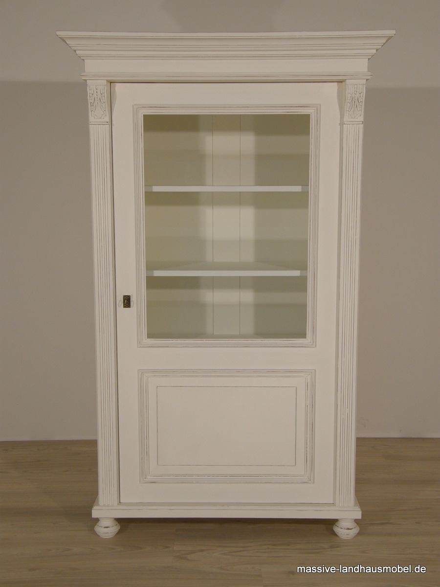 massive landhausm bel 1605 vitrine 1t deluxe landhaus aus massivholz wei. Black Bedroom Furniture Sets. Home Design Ideas