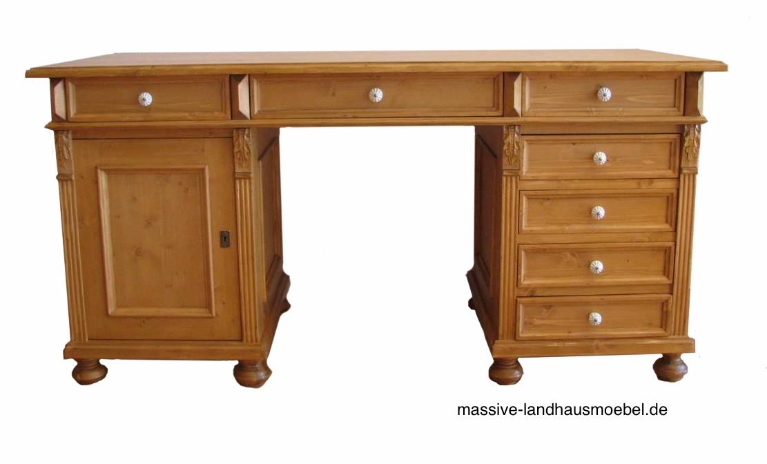 Massive Landhausmöbel - 5407 Schreibtisch Classic freistehend