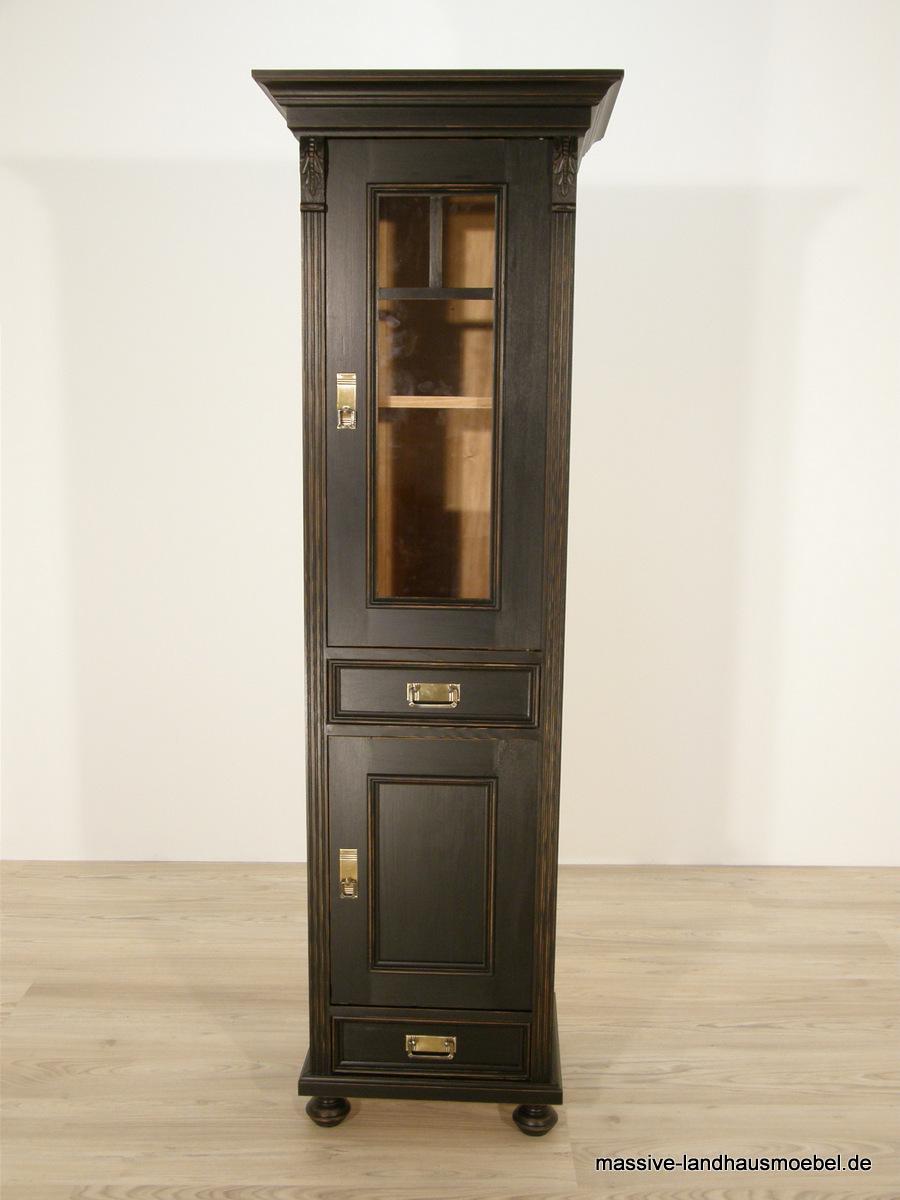massive landhausm bel 1604 vitrine 1t shabby schwarz. Black Bedroom Furniture Sets. Home Design Ideas