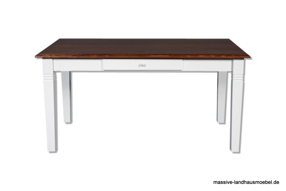 Massive Landhausmöbel - 106 Tisch weiß Platte braun