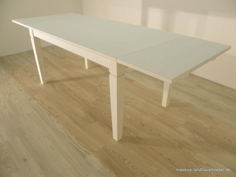 1010 tisch wei ausziehbar 140 x 80 cm massivholztisch massive landhausm bel ebay. Black Bedroom Furniture Sets. Home Design Ideas