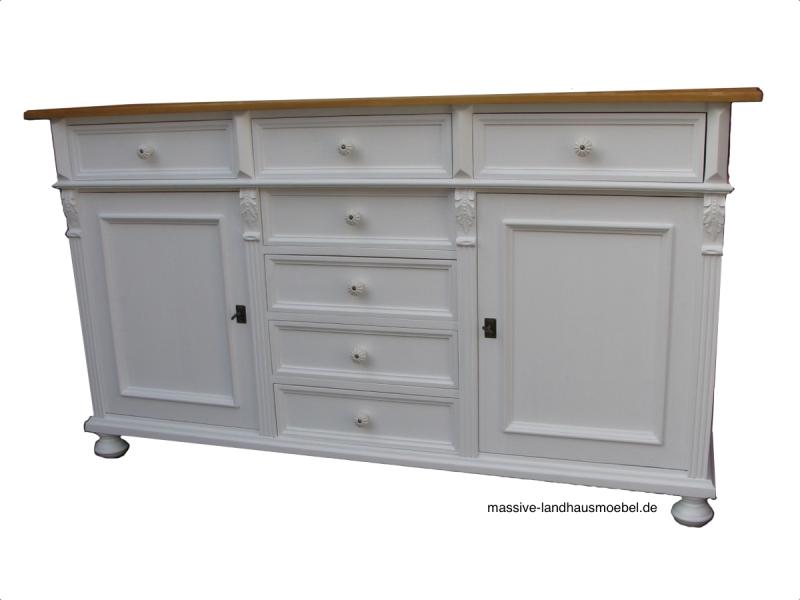 55033 anrichte classic wei massive landhausm bel ebay. Black Bedroom Furniture Sets. Home Design Ideas