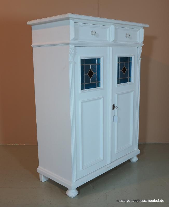 5050 vertiko 2t classic wei landhaus aus massivholz ebay. Black Bedroom Furniture Sets. Home Design Ideas