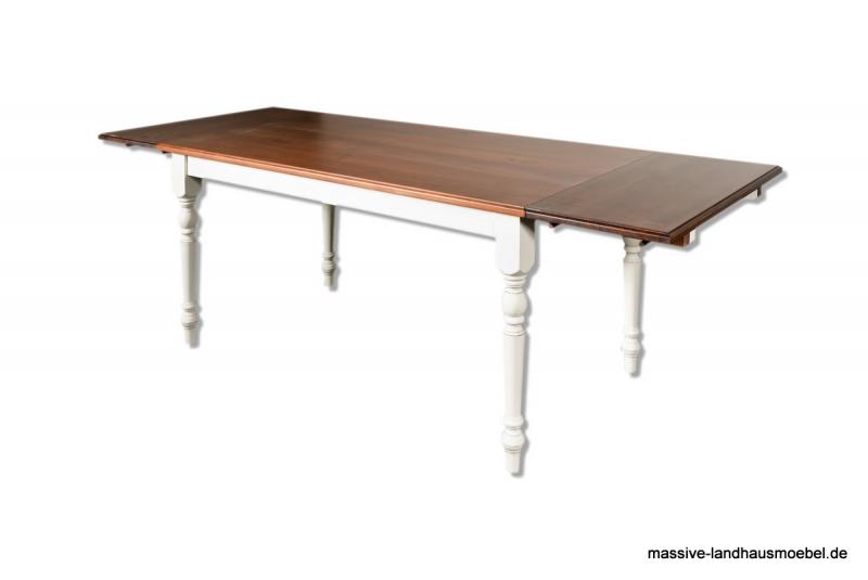 1012 tisch wei platte dunkel ausziehbar massivholz massive landhausm bel ebay. Black Bedroom Furniture Sets. Home Design Ideas
