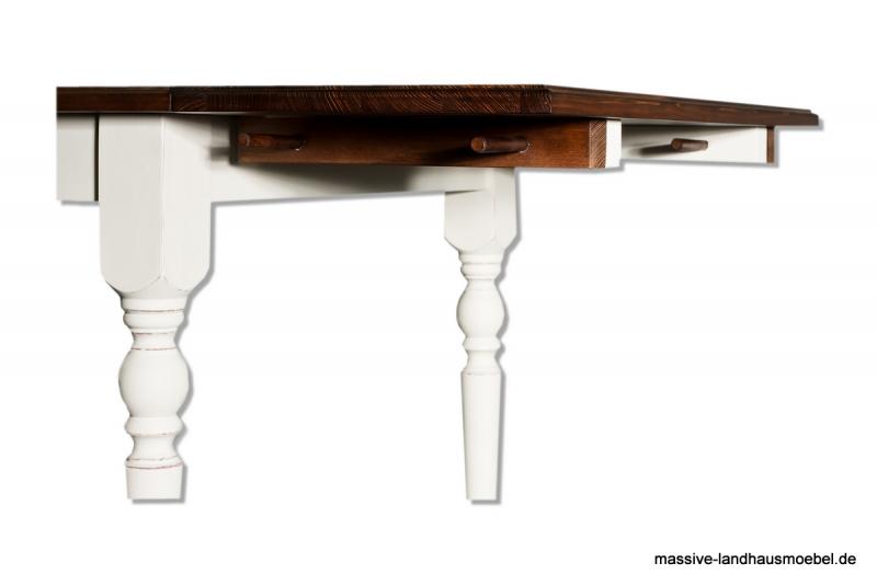 massive landhausm bel 134 tisch wei ausziehbar. Black Bedroom Furniture Sets. Home Design Ideas